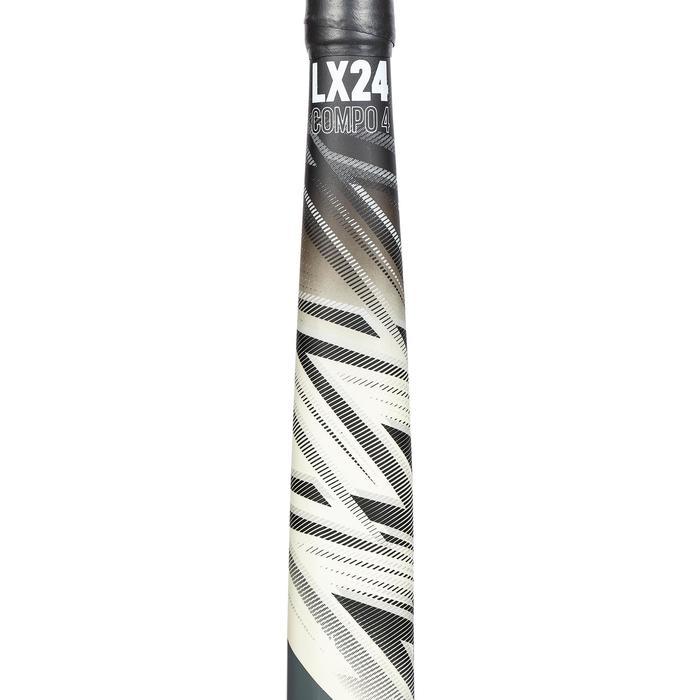 Hockeystick voor volwassenen halfgevorderd low bow 20% carbon LX24Compo4 wit