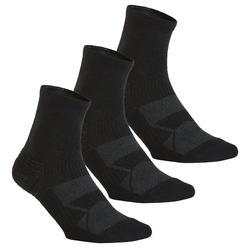 Calcetines Caminar/Marcha Nórdica WS 100 Mid Adulto Negro (3 Pares)