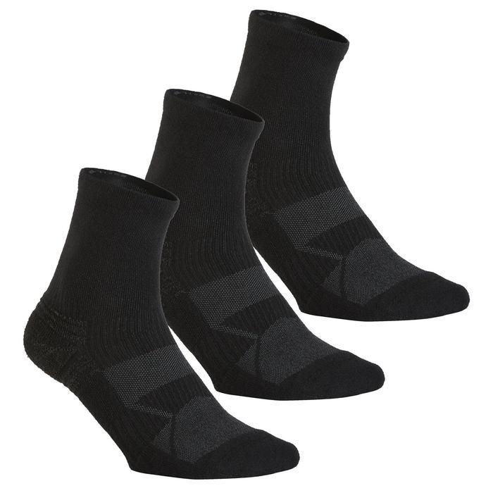 Chaussettes marche enfant WS 100 Mid noir 3 paires