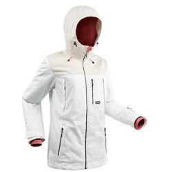 女款整件式單/雙板滑雪外套SNB JKT 500白色