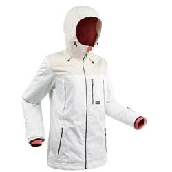 Women's snowboarding (and skiing) jacket SNB JKT 500 - All-over white