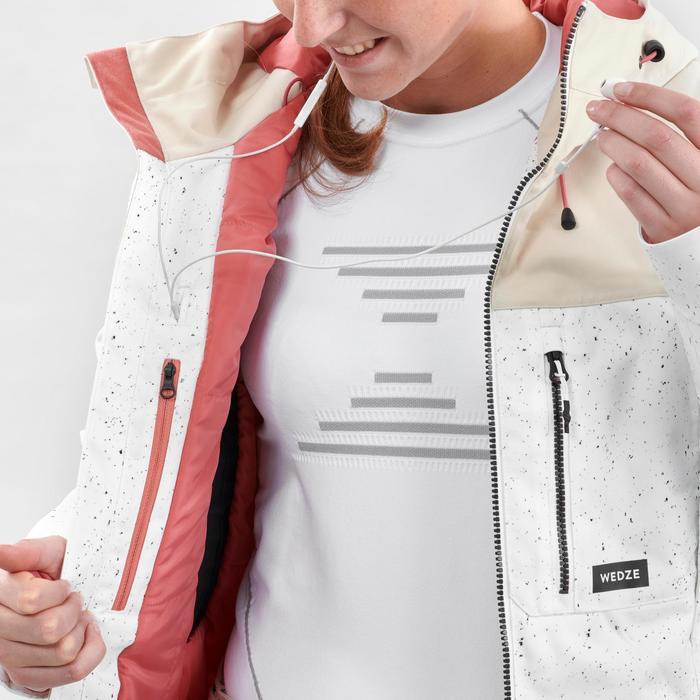 Women's snowboarding and skiing jacket SNB JKT 500 - AO White