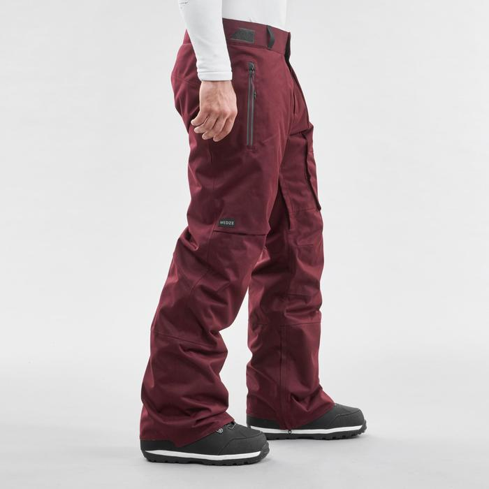Men's Ski and Snowboard Trousers SNB PA 500 - Burgundy