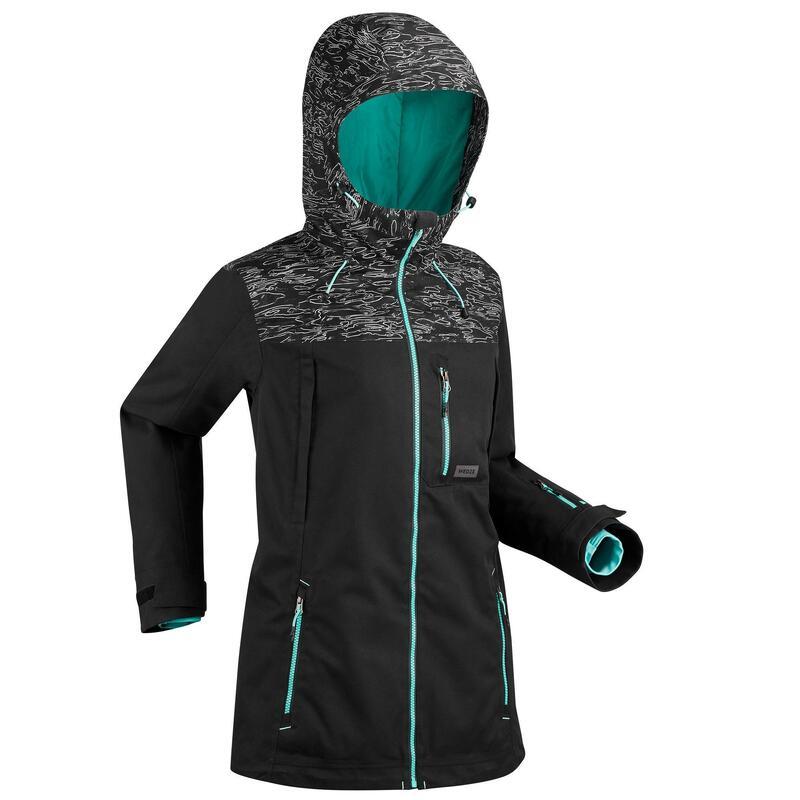 Women Snowboard and Ski Jacket - Black Camo