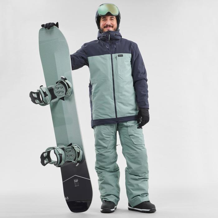 Chaqueta de Snowboard y Nieve, Wed'ze SNB 500, Impermeable, Hombre, Verde