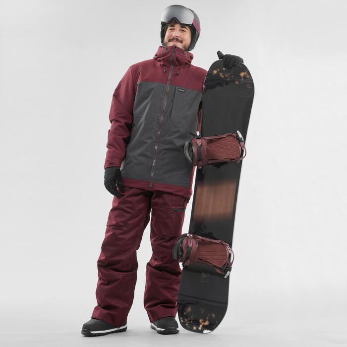 男款單/雙板滑雪外套SNB PA 500酒紅色