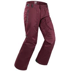 男款單/雙板滑雪長褲SNB PA 500 - 酒紅色