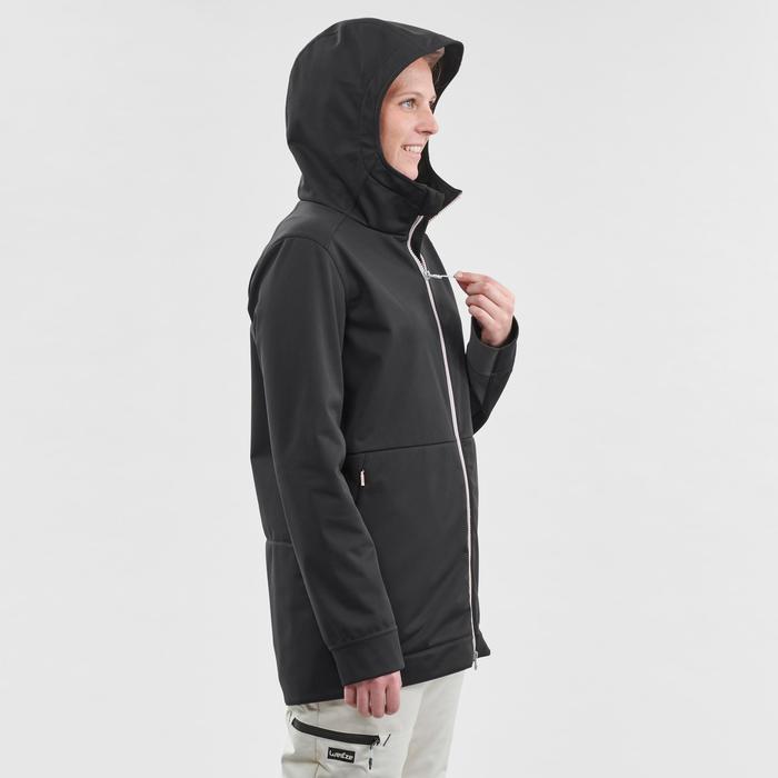 Hoodie voor snowboarden/skiën dames zwart