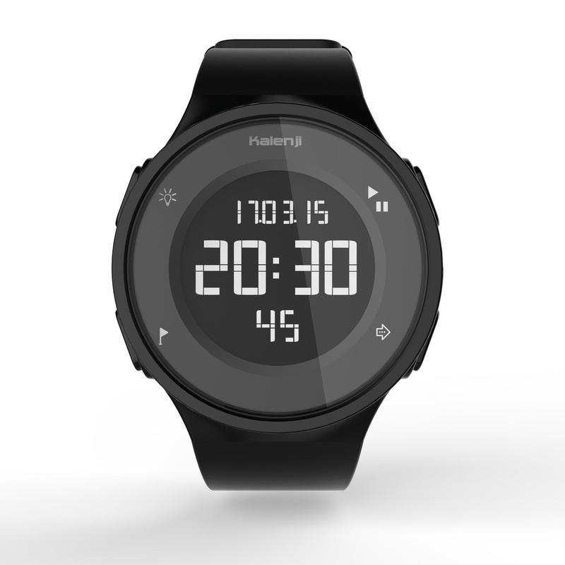 W500 M men's running stopwatch reverse screen - Black