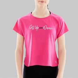 Camiseta Manga Corta de Danza Moderna Domyos Niña Rosa