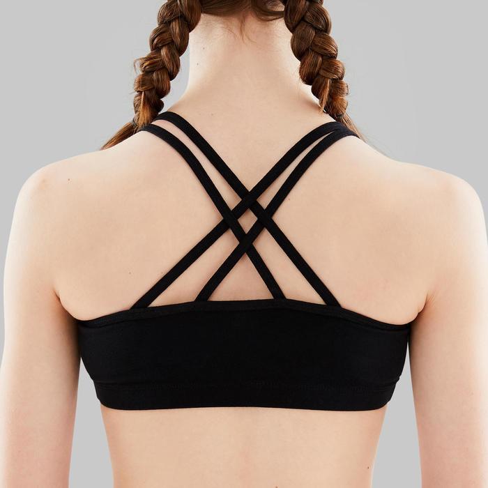 Sporttopje voor moderne dans meisjes zwart gekruiste bandjes