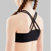 Girls' Modern Dance Crop Top With Crossover Straps - Black