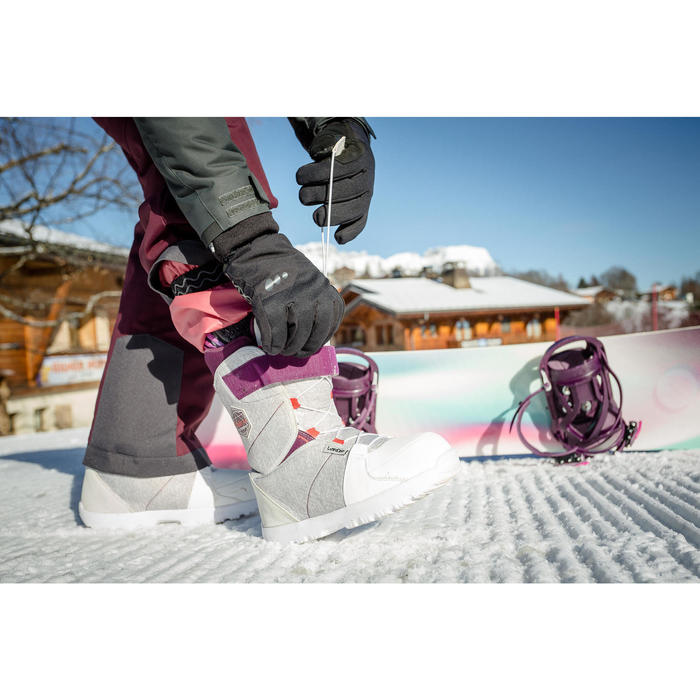 Chaussures de snowboard femme débutante, Maoke 300, grises