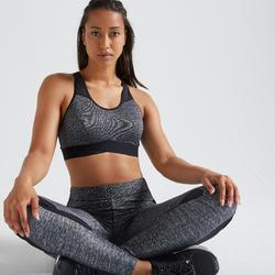 Brassière fitness cardio training femme gris chinée 500