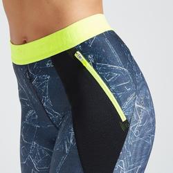 7/8-Leggings FLE 500 Cardio-/Fitnesstraining Damen mit grünem Print