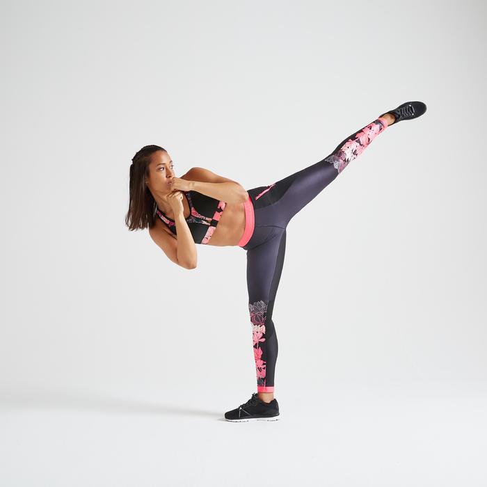 Leggings FTI 500 Fitness Cardio Damen schwarz mit floralem Print