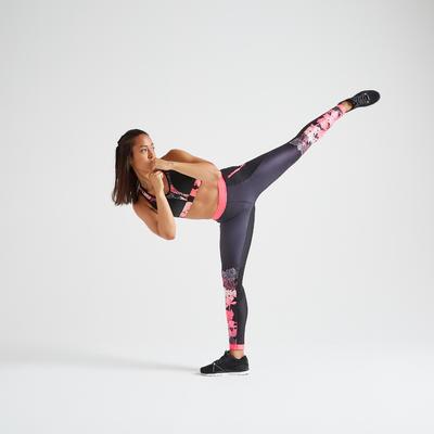 Women's Fitness Cardio Training Leggings - Black Print
