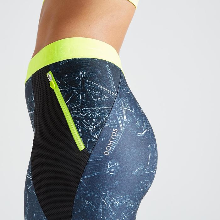 Fitness legging 500 voor dames, blauw met print