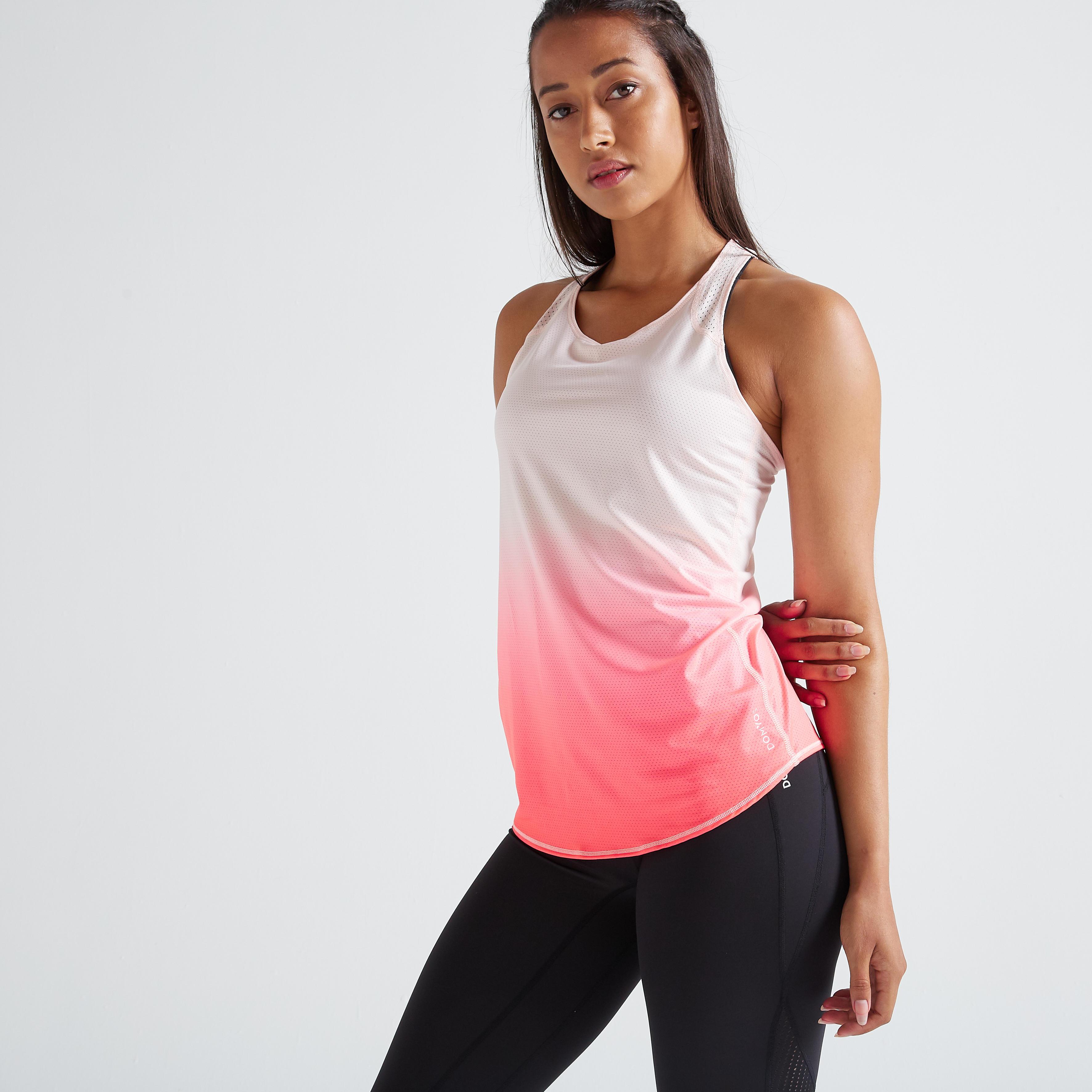 Top FTA 500 Fitness Cardio Damen rosa | Sportbekleidung > Sporttops | Rosa | Domyos