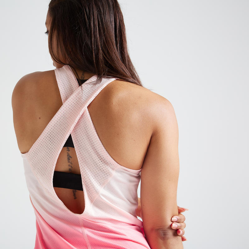 Polera sin mangas Cardio Fitness Domyos FTA 500 mujer rosa coral