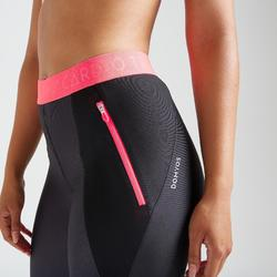 Legging voor cardiofitness dames zwart met print