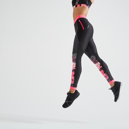 Leggings fitness cardio-training mujer negro estampado