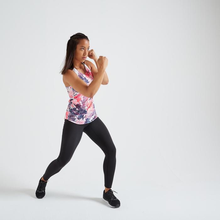 Débardeur fitness cardio training femme imprimé fleurs 500