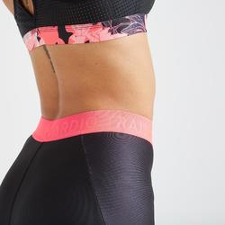Mallas Leggings deportivos Cardio Fitness Domyos FTI 500 mujer negro rosa