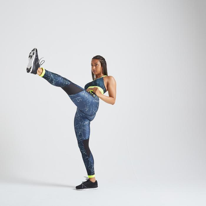 Mallas Leggings deportivos Cardio Fitness Domyos FTI 500 mujer azul estampado