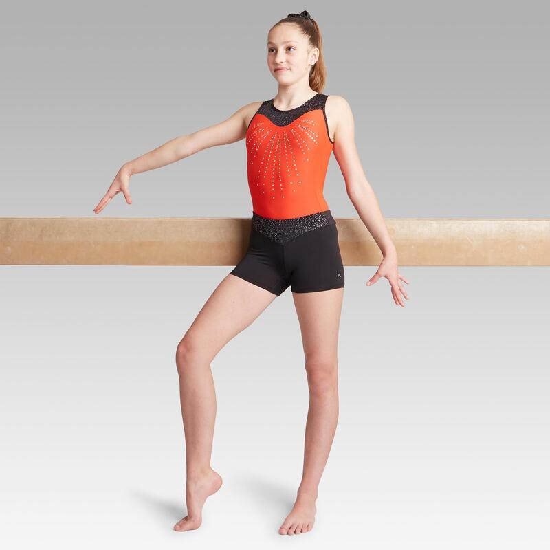 500 Artistik Jimnastik Şortu - Çocuk - Siyah