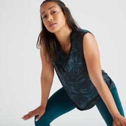 Camiseta sin mangas Cardio Fitness Domyos FTS 520 mujer verde estampado
