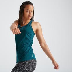Camiseta sin mangas Cardio Fitness Domyos FTA 500 mujer azul petróleo