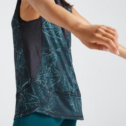 T-shirt fitness cardio training femme imprimé vert 520