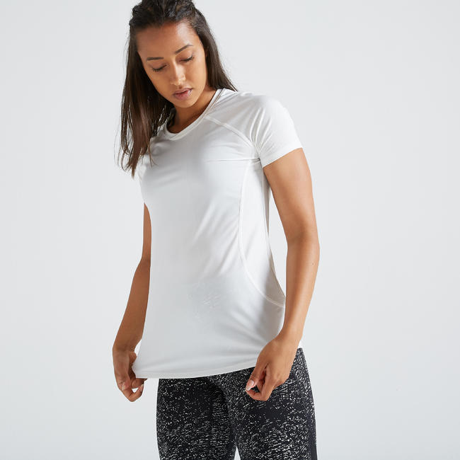 500 Women's Fitness Cardio Training T-Shirt - White