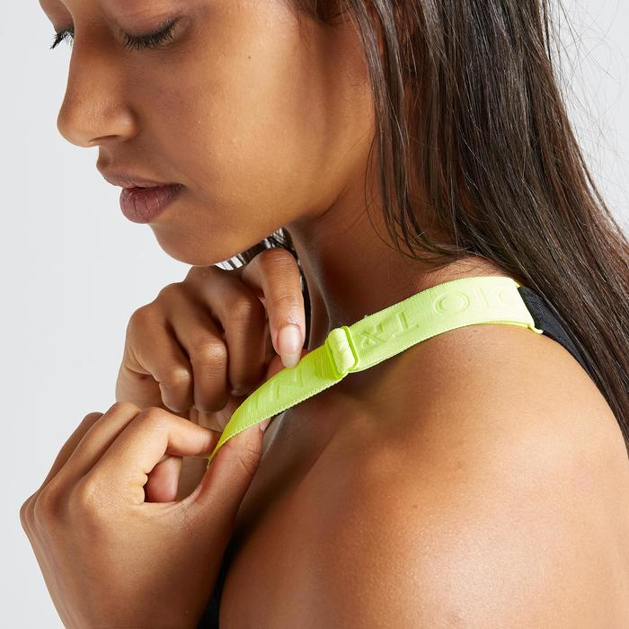 Brassière fitness cardio training femme imprimée vert 500