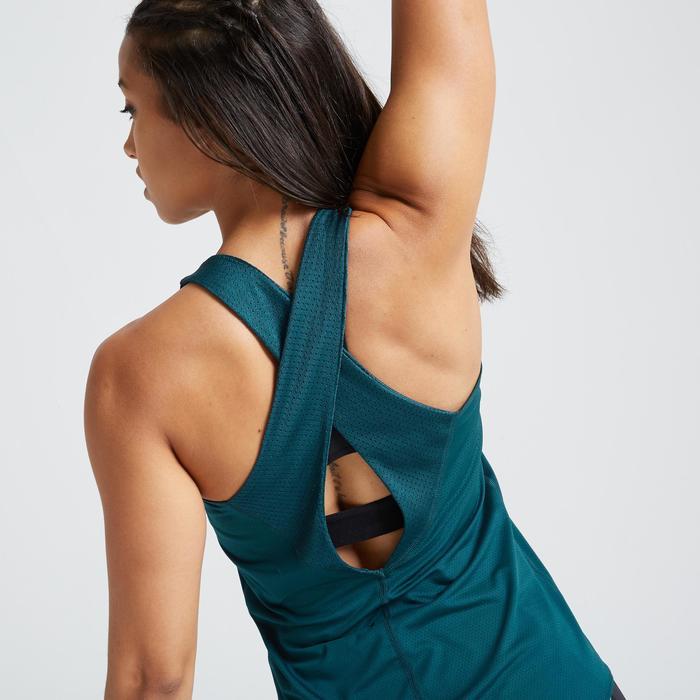 Débardeur fitness cardio training femme bleu 500