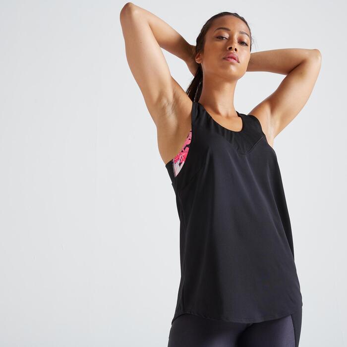 Débardeur 2 en 1 fitness cardio training femme noir et imprimé 500