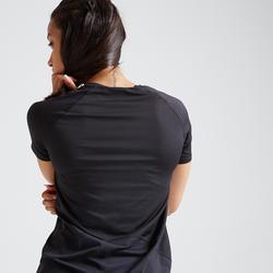 T-shirt fitness cardio training femme noir 500