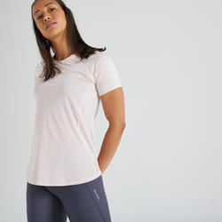 Women's Polyester Slim Fit Fitness T-Shirt - Pale Pink