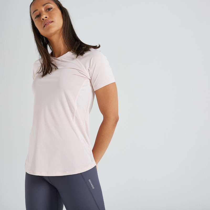 FITNESS CARDIO CONFIRMED WOMAN CLOTHING Fitness and Gym - FTS 500 T-Shirt - Pale Pink DOMYOS - Fitness and Gym