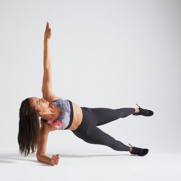 女款有氧健身訓練運動內衣FBRA 500—植物印花款