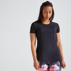 Getailleerd T-shirt voor cardiofitness dames zwart