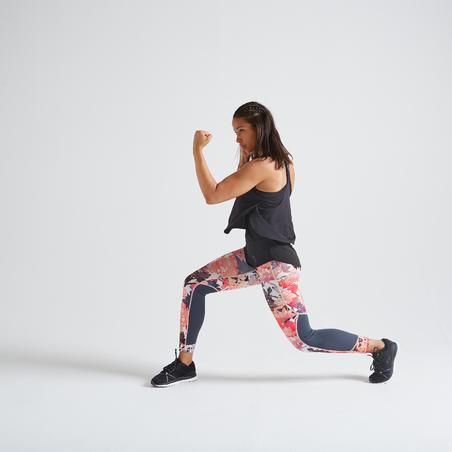 Legging entraînement cardio femme imprimé floral 500