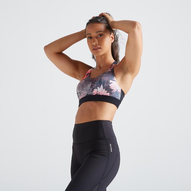 500 Women's Fitness Cardio Training Sports Bra - Floral Print