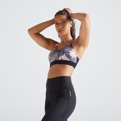 Top Sujetador Deportivo Cardio Fitness Domyos 500 mujer rosa negro