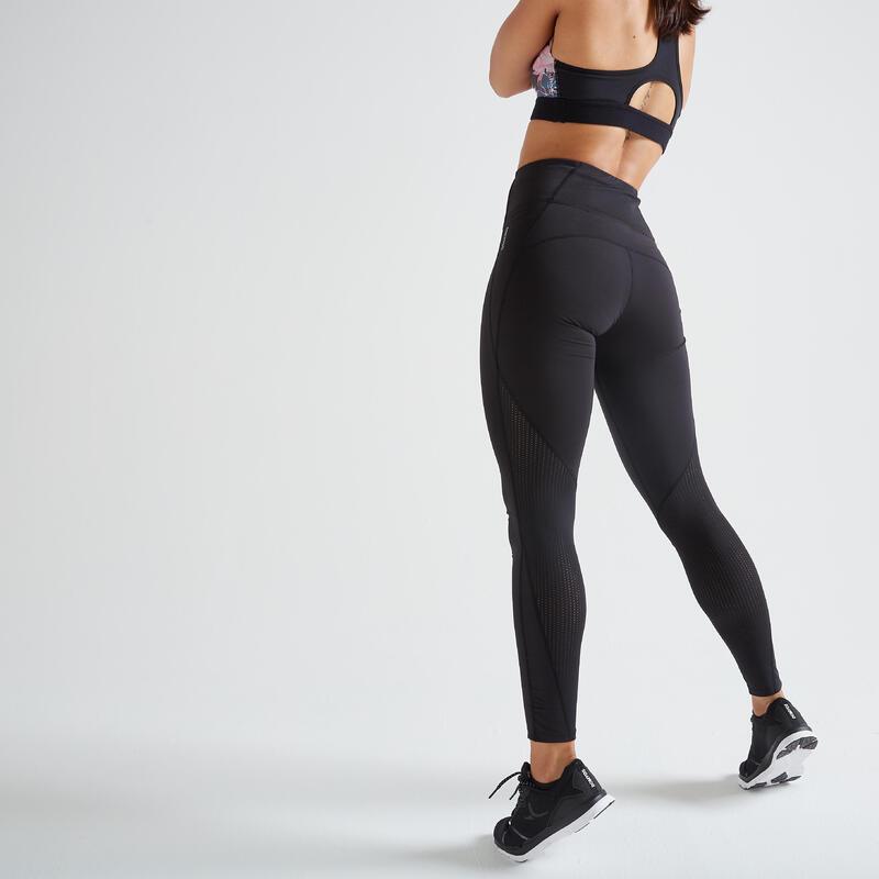 Colanți Fitness 500 cu talie înaltă negru Damă