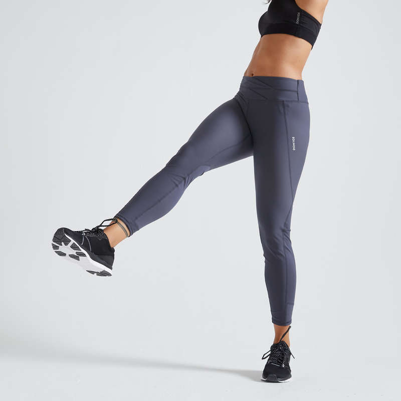 FITNESS CARDIO CONFIRMED WOMAN CLOTHING Fitness and Gym - FTI 500R Leggings - Grey DOMYOS - Gym Activewear