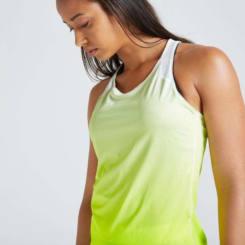 เสื้อกล้ามผู้หญิงสำหรับใส่ออกกำลังกายแบบคาร์ดิโอรุ่น 500 (สีเหลือง)