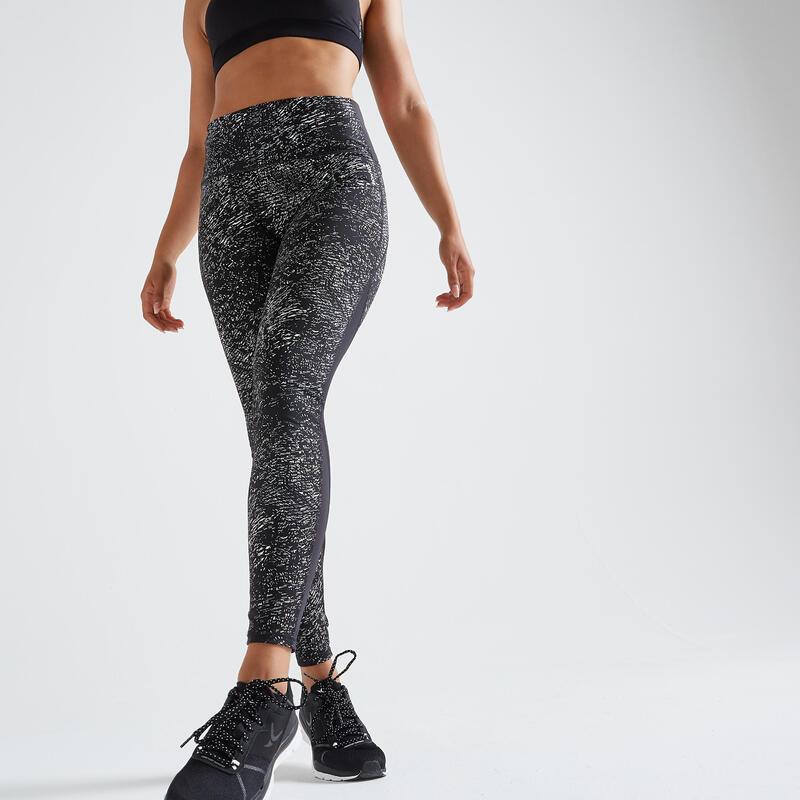 Leggings modellanti donna fitness 500 grigi