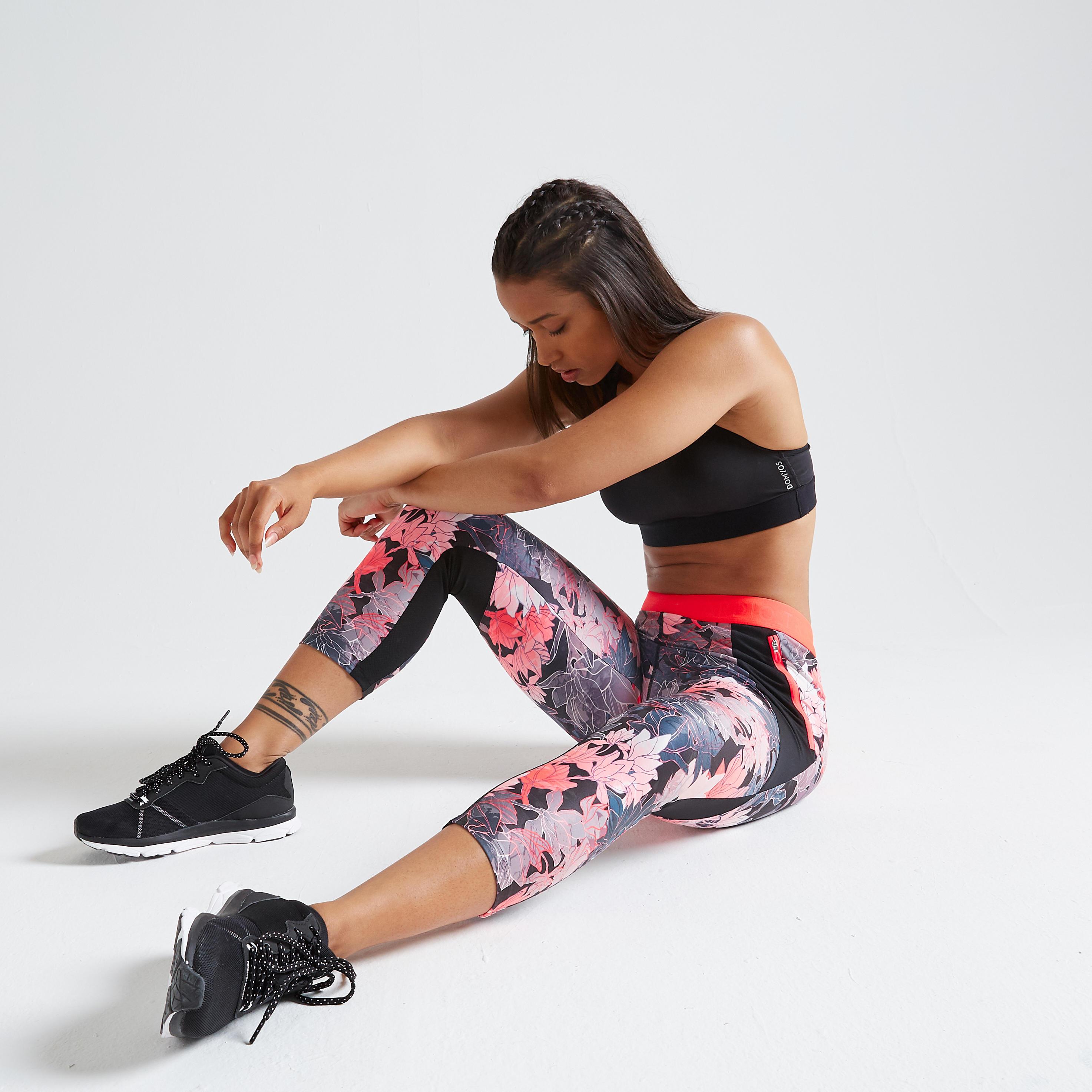 Domyos Fitness Legging 7 8 500 Voor Dames Blauw Met Groene Decathlon Nl